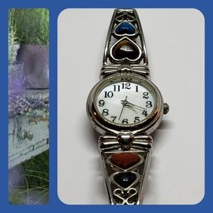 Vintage Jeweled Bezel Stainless Steel Watch
